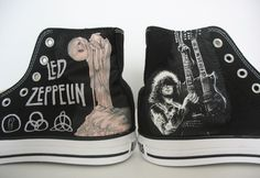 Led Zeppelin Jimmy Page shoes hand painted on Converse all star shoes sneaker great gift for girls on converse. $139.99, via Etsy.