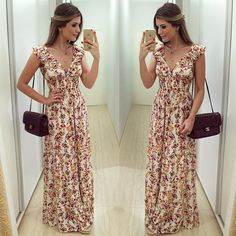 """""""{Do dia} Longo @mayaramilfont  Não sei o que  é mais lindo, o modelo do vestido ou a estampa?! ❤️ Já disponível on-line: www.mayaramilfont.com.br •…"""""""