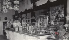 A soda fountain image from the Prohibition era. The Crystal Bar of Virginia City, NV, c. 1927