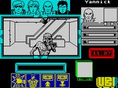 Zombi (1990) - A lesser known game, this was more or less a game adaptation of Dawn Of The Dead. Four survivors in a shopping mall fighting off zombies, before being beseiged by a gang of Hells Angels. A creepy game with no music, badly drawn objects with no descriptions as to what they are (e.g. looks like a sperm, actually an ignition key to a truck), and instant death in certain rooms, but still strangely compelling. One of those games where you wonder how on earth anyone ever solved it.