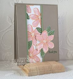 Split-Panel Layered Card using Stampin' Up! Garden In Bloom and Thoughtful Banners. Debbie Henderson, Debbie's Designs.