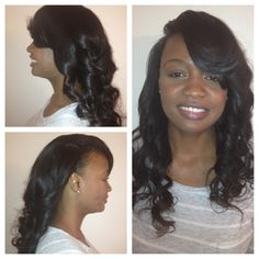 full sew in minimal leave out deep side part. Luxe Lengths richmond, va www.styleseat.com/luxelengths