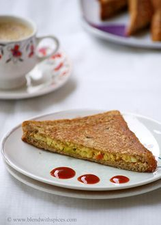 Paneer Bhurji Toast Sandwich Recipe ~ Sandwich Recipes for Kids | Indian Cuisine