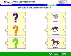 MATERIALES - Aproximación a la lectoescritura: P -L - M - S - T - N - Ñ - F - D - B - V - R (fuerte y suave) - C - K - Q - H - CH - Z- CE - CI - G (suave) - GÜ - GE - J - Y.  Libros interactivos multimedia (LIMs) de actividades de aproximación a la lectoescritura para Educación Infantil y 1º ciclo con pictogramas de ARASAAC y fotos en letra cursiva Escolar 2.   http://arasaac.org/materiales.php?id_material=1061