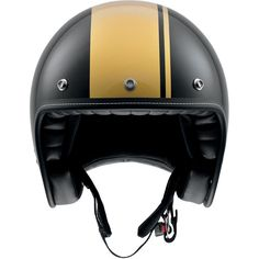 AGV RP60 cafe racer 3/4 black & gold motorcycle helmet Motorcycle Riding Gear, Retro Motorcycle, Motorcycle Helmets, Bicycle Helmet, Retro Helmet, Harley Gear, Beast From The East, Racing Helmets, Cafe Racer