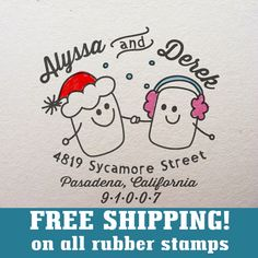 FREE SHIPPING Custom rubber stamp return address by KreativeBrand cute little marshmallows can color in on envelope