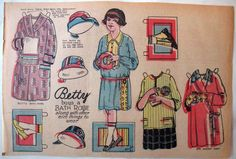 Vintage 1923 Uncut Newspaper Children Paper Dolls w Many Outfits Bright Colors | eBay