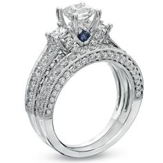 Vera Wang LOVE Collection 2-3/4 CT. T.W. Princess-Cut Diamond Three Stone Bridal Set in 14K White Gold - View All Rings - Zales