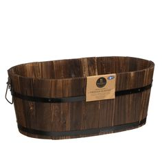 New Solid burntwood Hand Crafted Burntwood Half Barrel Planter Flower Pot