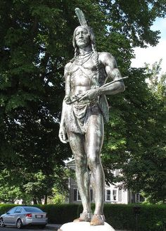 Plymouth, MA:  Statue of Massasoit - Wampanoag leader when the Mayflower sailed in with the Pilgrims the year 1620.