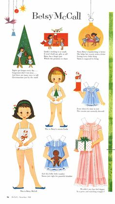 §§§ : Betsy McCall  : McCall's magazine ✄ 1958.  My mom would always give me the Betsy McCall paper doll to cut out of McCall magazine.