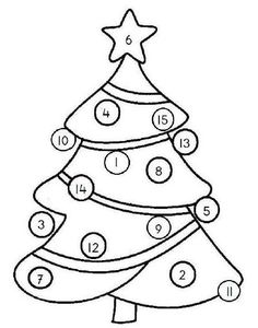 Gooi met 1 of meer dobbelstenen en kleur de kerstbal in met dit cijfer. (verschillende versies van jufanja.eu)