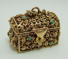 Large 1960's 14k 14ct Gold Opening Treasure Chest Charm with Turquoise & Rubies Gold Charm - Sandy's Vintage Charms