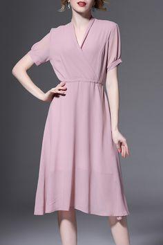 SICHENGLISHA -  Solid Color Wrapped Dress