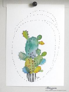 Multicolor Colorful Minimal Cactus Dot by thevysherbarium on Etsy