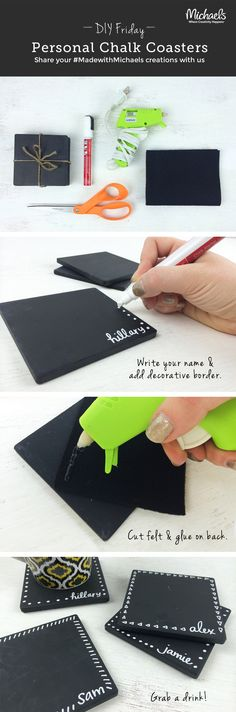 DIYFriday Personal Chalk Coasters