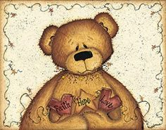 mary+ann+june+primitive+bear+pictures | Mary Ann June - Faith, Hope and Love - art prints and posters