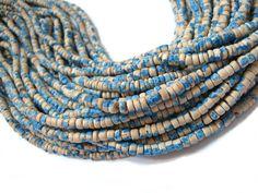 130 coconut beads marblized beige and blue by BonjourHandmadeDIY