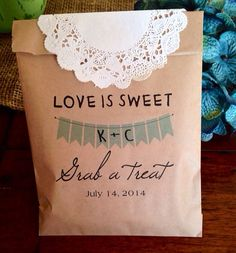 Cookie Candy Buffet Bags, Custom Wedding Favors, Recycled Brown Paper Personalized Printed Sack