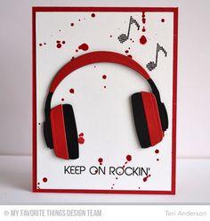 Keep on Rockin', Headphones Die-namics - Teri Anderson #mftstamps