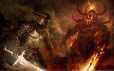 Epic Battle Backgrounds | Epic Battle btw 2 Warriors - sword, epic, warrior, fantasy, war, fire