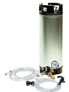 """Economy Kegging Setupfrom Adventures in Homebrewing. You get abrand new5 gallon ball lock kegwith rubber handles, American Made Taprite Single Gauge Regulator (5/16"""" Barb/Shutoff/Check Valve),..."""