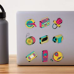 Cute Laptop Stickers, Retro Aesthetic, 90s Kids, Transparent Stickers, Flask, Nostalgia, Gift Ideas, Artist, Gifts