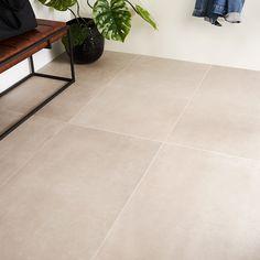 Large Floor Tiles, Modern Floor Tiles, Modern Flooring, Living Room Flooring, Kitchen Flooring, Tile Living Room, Concrete Look Tile, Greige, Room Tiles