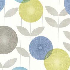 Aquamarine Monroe Modern Floral Wallpaper