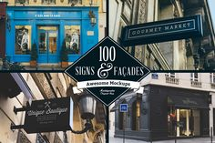 A massive collection of 100 Signs & Facades hight quality mockups. #sign mockups #mockup #sign #facade