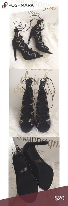 Studded Lace Up Heels ✨NWOT ✨   Wild Diva lace up heels with perforated studs. The perfect heel to finish up any outfit. NEVER WORN!   Heel Hight 4 - 4 1/2   Style With:  * Ripped jeans and a trench coat  * A cute midi dress Wild Diva Shoes Heels