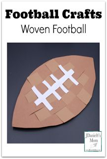This post shares several wonderful football crafts. The featured craft is the woven football craft pictured above. Craft Projects For Kids, Easy Crafts For Kids, Craft Activities For Kids, Toddler Crafts, Preschool Crafts, Kid Crafts, Art Projects, Craft Ideas, Preschool Themes