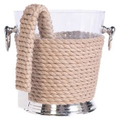Add a classic touch to your buffet spread or tablescape with this eye-catching ice bucket set, showcasing a rope-wrapped design for nautical appeal....