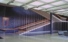 general motors technical center - design center lobby and staircase - by eero saarinen