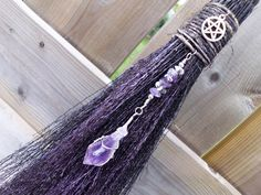 Witches Altar Besom/Wall Decor for Protection and Purification, pagan altar, wiccan altar, shimmering metallic purple and black
