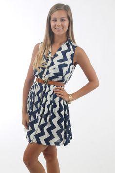The Amber Chevron Dress, navy $44 www.themintjulepboutique.com