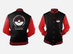 Oak Research Kanto Black & Fire Red Edition Varsity Jacket inspired by Pokemon