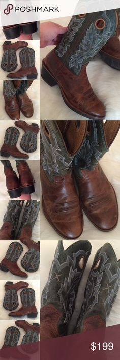 ARIAT 🌟 COWBOY WESTERN STITCHED WORK BOOTS MEN 11 Excellent pre-owned condition!  Very nice boots!  Little wear/nicks on the LEATHER. Very nice marbling in the brown portion of the leather and beautiful intricate stitching presenting!  GREAT GIFT IDEA!  Men's size 11! 🌟🌟🌟 AX20FV516P Ariat Shoes Cowboy & Western Boots