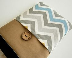 Chevron Kindle Sleeve Pocket , Kindle fire sleeve cover, nook cover, Google nexus 7 case. $18.50, via Etsy.