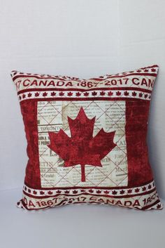 Canada 150 Canadian Flag Quilted Throw Pillow Cover 12 inches square with newsprint fabric