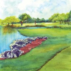 TPC Eagle Trace Hole Waiting to Tee Off - original watercolor painting by Barb Capeletti Watercolor Flowers, Watercolor Paintings, Golf Pga, Grandkids, Watercolors, Giclee Print, Waiting, Eagle, Tutorials