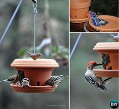 #DIY Flower Clay Pot Birdfeeder  #Crafts, #Garden