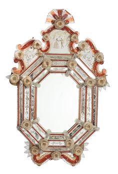 Espejo veneciano con marco de espejos grabados y vidrio de Murano rojo, de principios del siglo XX