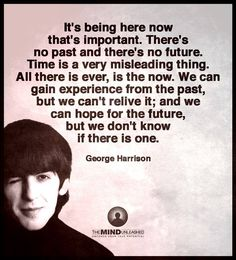 It's being here now that's important. There's no past and there's no future. Time is a very misleading thing. All there is evere, is the now. We can gain experience from the past, but we can't relive it; and we can hope for the future, but we don't know if there is one. George Harrison