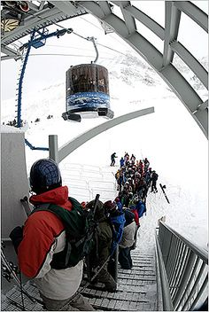 Ski Powder at Big Sky, MT. Lone Peak Tram - Only lift line at Big Sky Resort happens once in a while at the tram. However this line is only about 15 minutes. Montana Winter, Big Sky Montana, Ski Montana, Big Sky Resort, Vacation Trips, Ski Trips, Vacations, Snow Fun, Big Sky Country