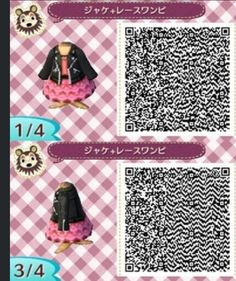 Acnl qr code - leather jacket, pink dress 1