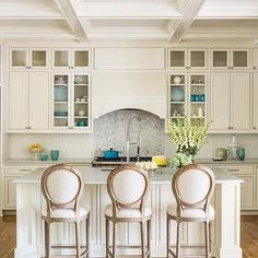 Ivory Kitchen with Turquoise Accents