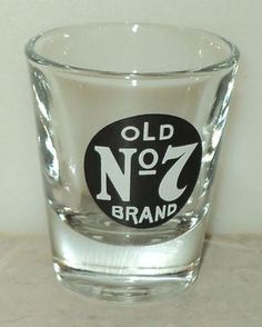 Old No 7 Brand Whiskey Shot Glass Shooter Black White Logo Barware  - This Item is for sale at LB General Store http://stores.ebay.com/LB-General-Store
