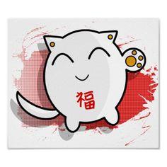 poster afortunado japonês bonito do gato