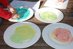 Painting with condensed milk- edible paint, perfect for my one year old